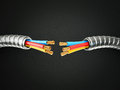 Electric cable black background Stock Image