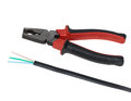 ELECTRIC CABLE and pliers Royalty Free Stock Photo