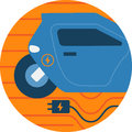 Electric Car Abstract Icon Illustration.