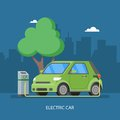 Electric car charging at the charger station. Vector illustration in flat style.