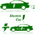 Electric car concept illustration showing an with a lightning bolt and an electrical plug Stock Photos