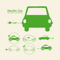 Electric car design over lineal background vector illustration Stock Photos