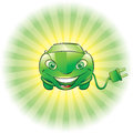 Electric car illustration of a smiling green with plug Royalty Free Stock Photography