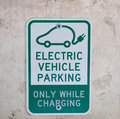 Electric car parking sign Royalty Free Stock Photo