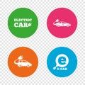 Electric car sign. Sedan and Hatchback transport.