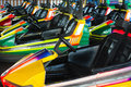 Electric cars in amusement park Royalty Free Stock Photography