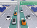 Electric cars driving on the wireless charging lane of the highway Royalty Free Stock Photo