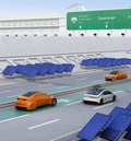 Electric cars driving on the wireless charging lane of the highway