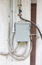 Electric control box outside building Royalty Free Stock Images