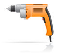 Electric drill vector illustration on white background Royalty Free Stock Image