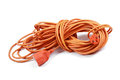 Electric extension cord on white background Royalty Free Stock Images