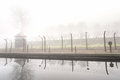 Electric fence in former nazi camp concentration auschwitz i poland Stock Images