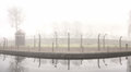 Electric fence in former nazi camp concentration auschwitz i poland Stock Photo