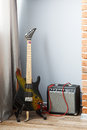 Electric guitar and amp Royalty Free Stock Photo