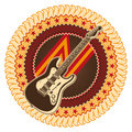 Electric guitar badge. Royalty Free Stock Photos