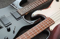 Electric guitar and bass guitar Royalty Free Stock Photo