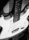 Electric guitar bw close up in black and white Stock Photos