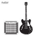 Electric guitar and combo amp, hard rock Royalty Free Stock Photo