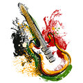 Electric guitar. Hand drawn grunge style art. Retro banner, card, t-shirt, bag, print, poster. Royalty Free Stock Photo