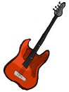 Electric guitar hand drawn sketch cartoon illustration of Royalty Free Stock Photography