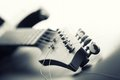 Electric guitar headstock and tuning machines toned Stock Image