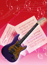 Electric guitar picture of an instruments and music note Stock Photo