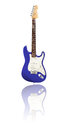Electric guitar with reflection blue white background Stock Images