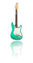 Electric guitar with reflection green white background Royalty Free Stock Photography