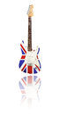 Electric guitar with reflection union jack white background uk design Royalty Free Stock Photo