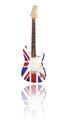 Electric guitar with reflection union jack white background uk design Royalty Free Stock Photo