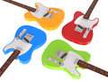 Electric guitars closeup isolated on white background Royalty Free Stock Photography