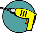 Electric hand drill tool with drill bit. Vector Royalty Free Stock Photo