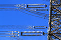 Electric high voltage pillar closeup of insulators sky background Royalty Free Stock Image