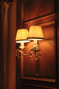 Electric lamp is lit at night Stock Photography