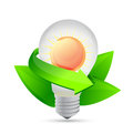 Electric light bulb symbolizing solar energy and nature illustration design Royalty Free Stock Photo