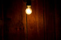 Electric light bulb on wooden background Royalty Free Stock Photo