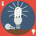 Electric light bulbs flat vector illustration Royalty Free Stock Photo