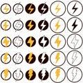Electric lightning icon on white background. flat style. Flash icon for your web site design, logo, app, UI. lightning symbol.