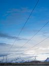 Electric lines in jokulsarlon iceland site for floating ice bergs northern lights Royalty Free Stock Image