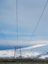 Electric lines in jokulsarlon iceland site for floating ice bergs northern lights Stock Images