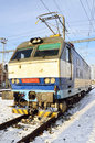 Electric locomotive in prague specific of czech republic winter time Royalty Free Stock Image