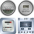 Electric meter different types of old and new meters Stock Images
