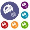 Electric mixer icons set