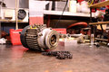 Electric motor and chain Stock Photo