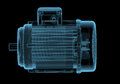 Electric motor with internals x ray blue transparent isolated on black Stock Images