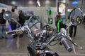 Electric motorcycle steering closeup on Kiev Plug-in Ukraine 2017 Exhibition.