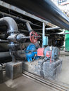 Electric motors driving water pumps at power plant industrial Stock Image