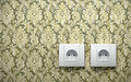 Electric outlets vintage wall Royalty Free Stock Photo
