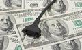 Electric plug on money Royalty Free Stock Photo