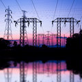 Electric pole high voltage post and sky in twilight time beautiful of nature Stock Photography